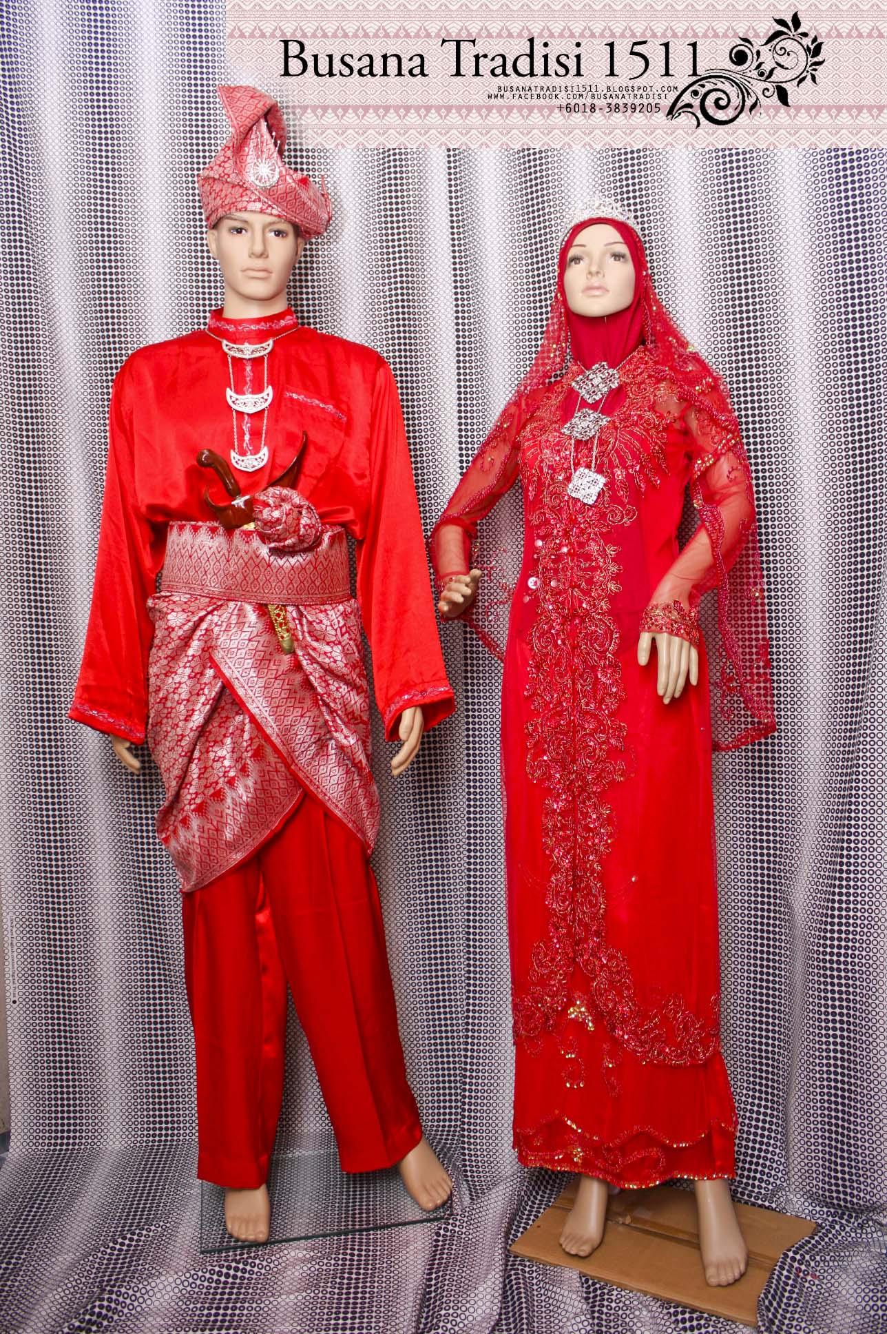 Baju Pengantin Merah Sedondon Sepasang Rm12 Untuk Disewa - Butik