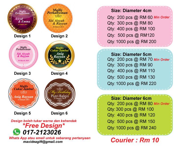 Pilih design sticker doorgift 1 source · maxideagift cenderahati dan aksesori di puchong selangor